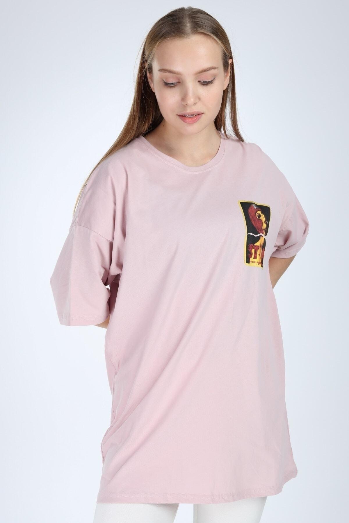 Millionaire Kadın Pembe Stop Baskılı Oversize T-shirt 2