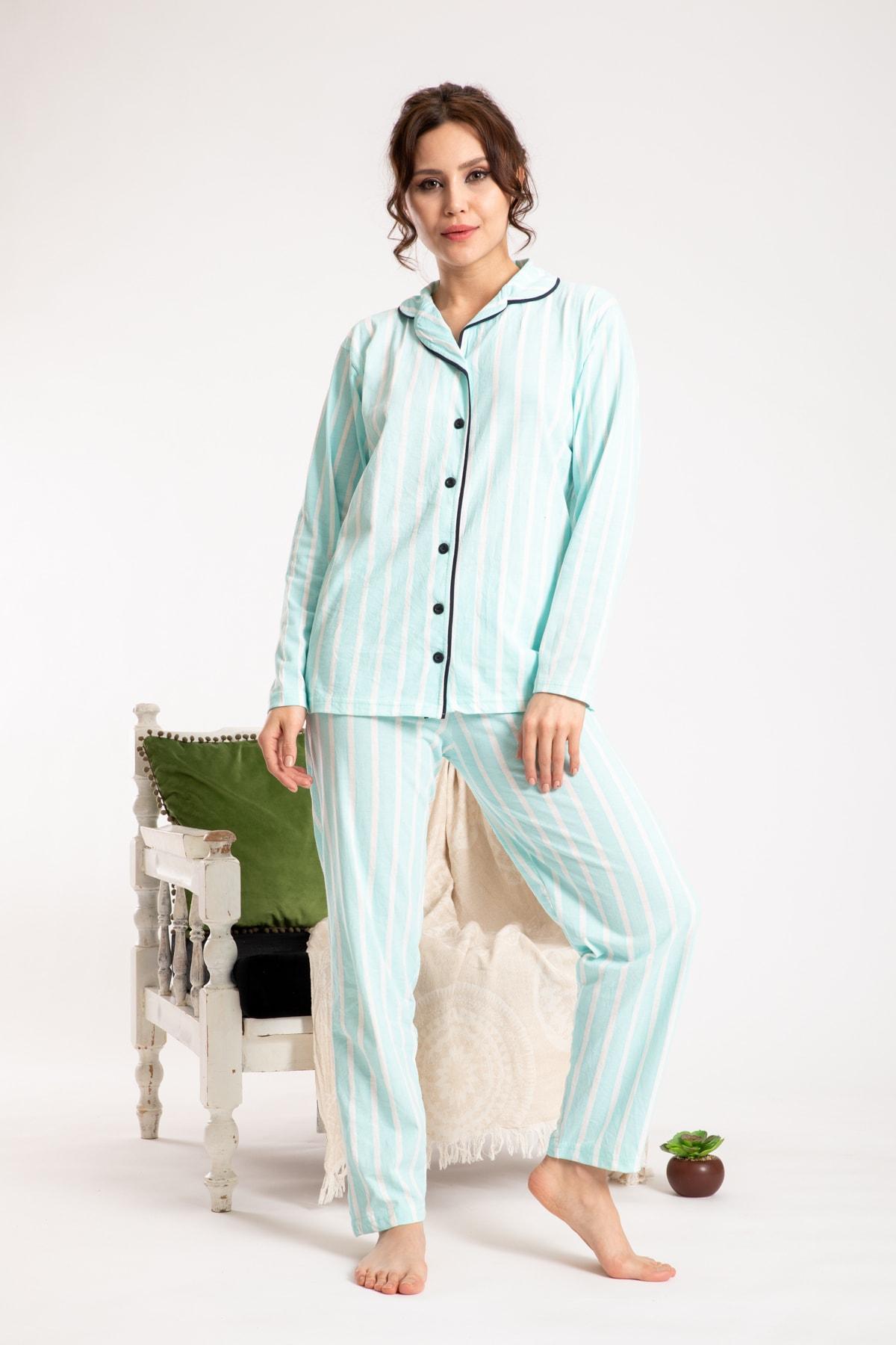 TAMPAP Turkuaz Kadın Gecelik Pijama Takımı 1