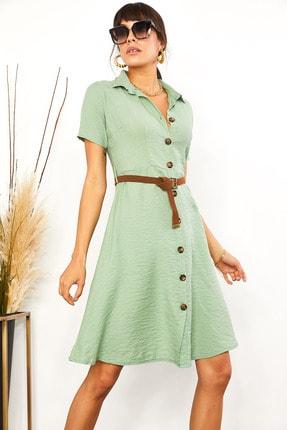 Olalook Kadın Mint Yeşili Kemerli Düğmeli Kloş Elbise ELB-19001412