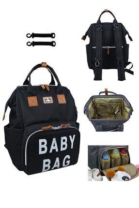 Stylo Roma Baby Bag Baskılı Anne Bebek Bakım Sırt Çantası-siyah