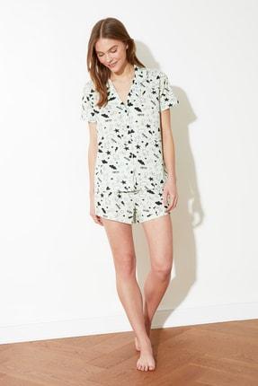 TRENDYOLMİLLA Mint Grafik Desenli Örme Pijama Takımı THMSS20PT0300