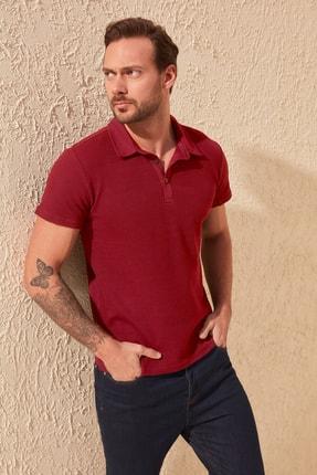 TRENDYOL MAN Bordo Erkek Slim Fit Dokulu Polo Yaka T-Shirt TMNSS20PO0002