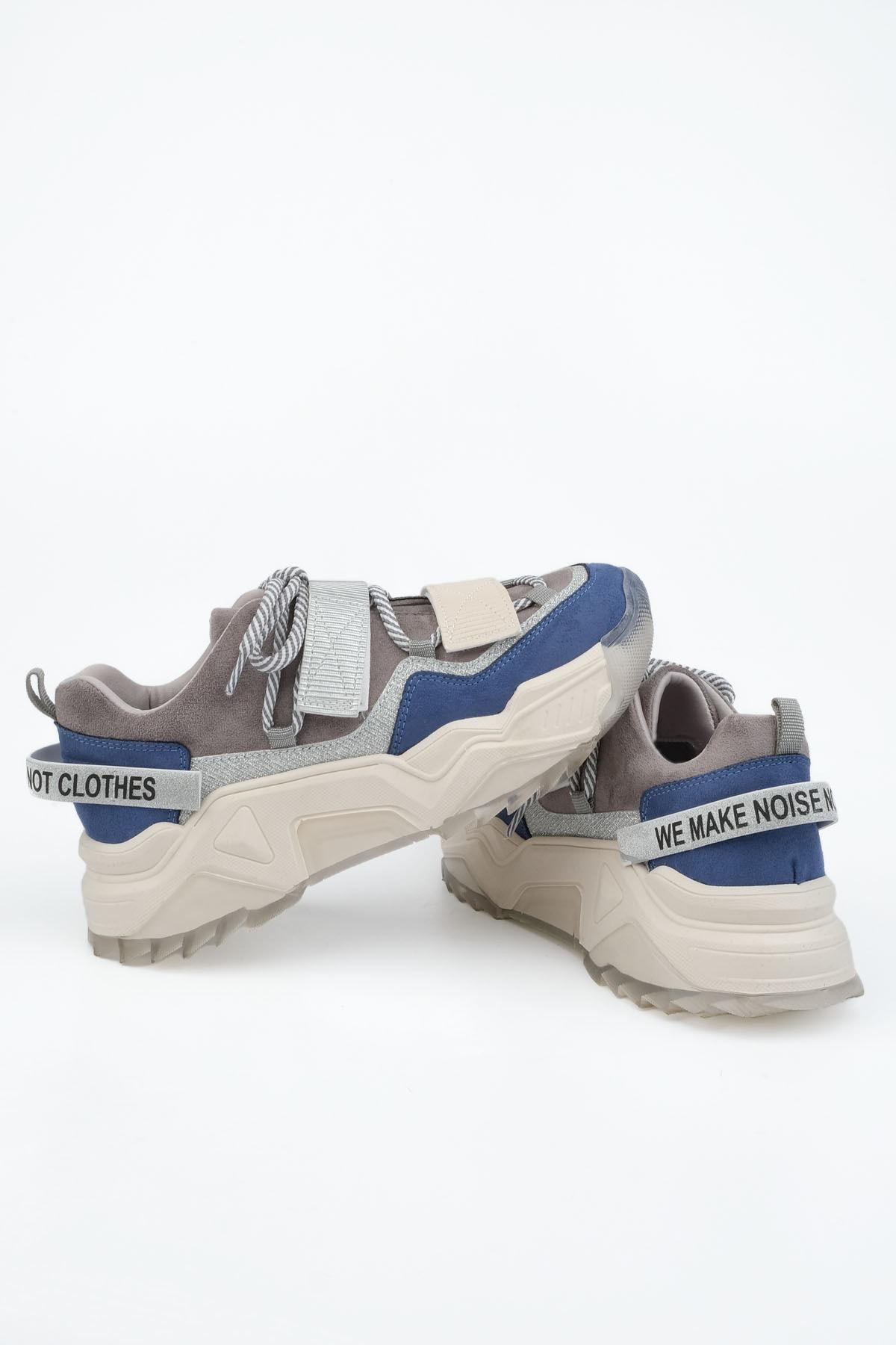 Marjin Kadın Sax Mavi Süet Sneaker Dolgu Topuklu Spor Ayakkabı Cakir 1