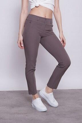 Jument Kadın Fango Mor Kalın Kemerli Süs Cepli Bilek Boy Likralı Kumaş Pantolon