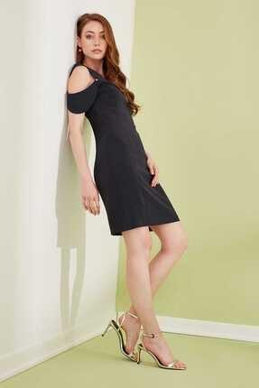 Journey Kadın Lacivert Ön Arka V Yaka Kol Üstü Düşük Bant Parçalı Kalem Elbise 19YELB089