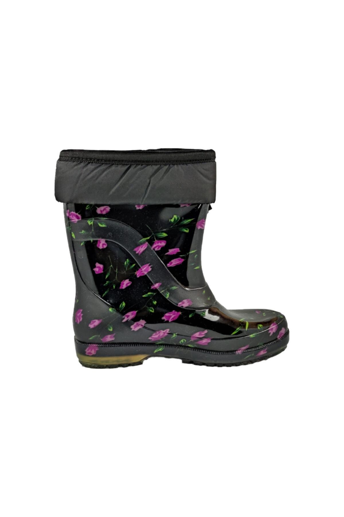 fafatara Mor Çiçekli Yünlü Çizme Kar & Yağmur Çizmesi 1