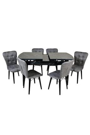 Mobildeco Güz 6 Kişilik Kelebek Yemek Masa Sandalye Takımı Siyah