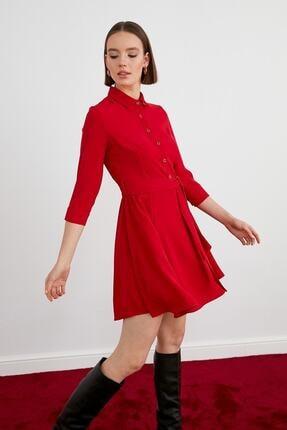 Journey Kadın Kırmızı Polo Yaka Yarım Patlı Düğmeli Belden Kuşaklı Truvakar Kol Elbise 19kelb111