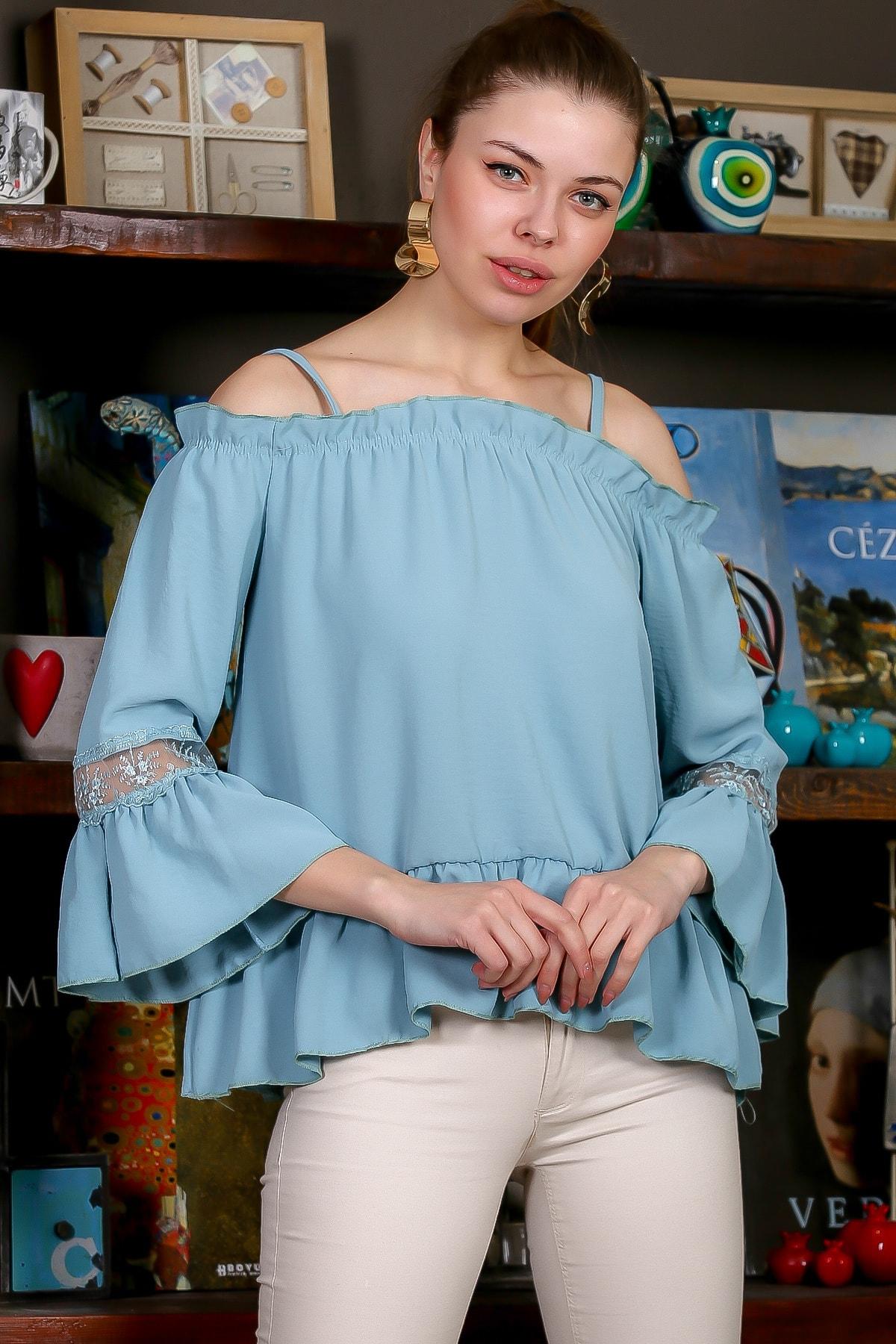 Chiccy Kadın Mint Carmen Yaka Askılı İspanyol Kol Dantelli Etek Ucu Fırfırlı Dokuma Bluz M10010200BL95540