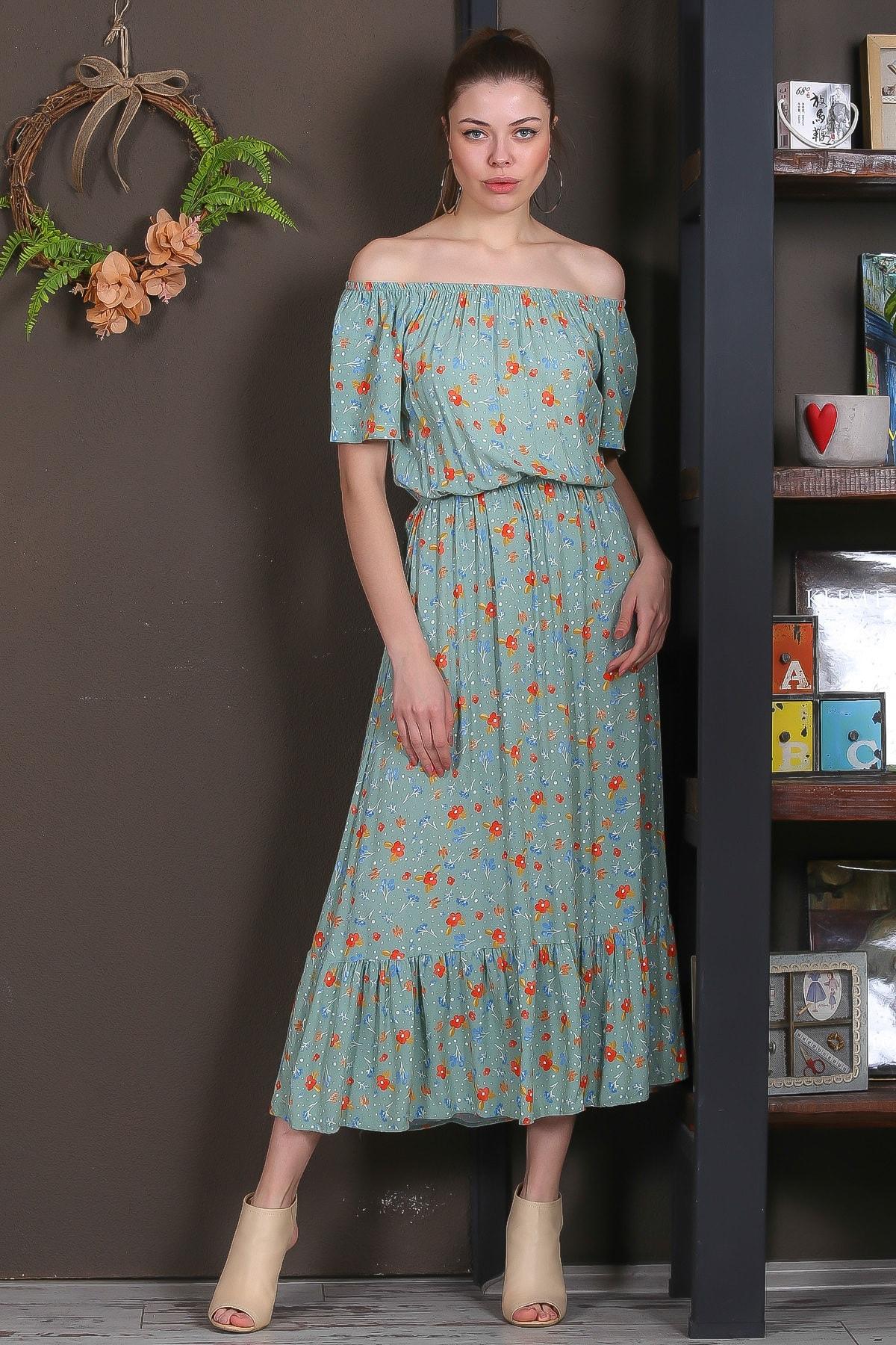 Chiccy Kadın Mint Carmen Yaka Çıtır Çiçek Desenli Beli Lastikli Uzun Elbise M10160000EL95399