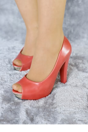 PUNTO Kadın Nar Çiçeği Renk Platform Topuklu Ayakkabı