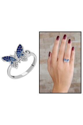 Tesbihane Kadın Mavi-beyaz Zirkon Taşlı Kelebek Tasarım 925 Ayar Gümüş Yüzük