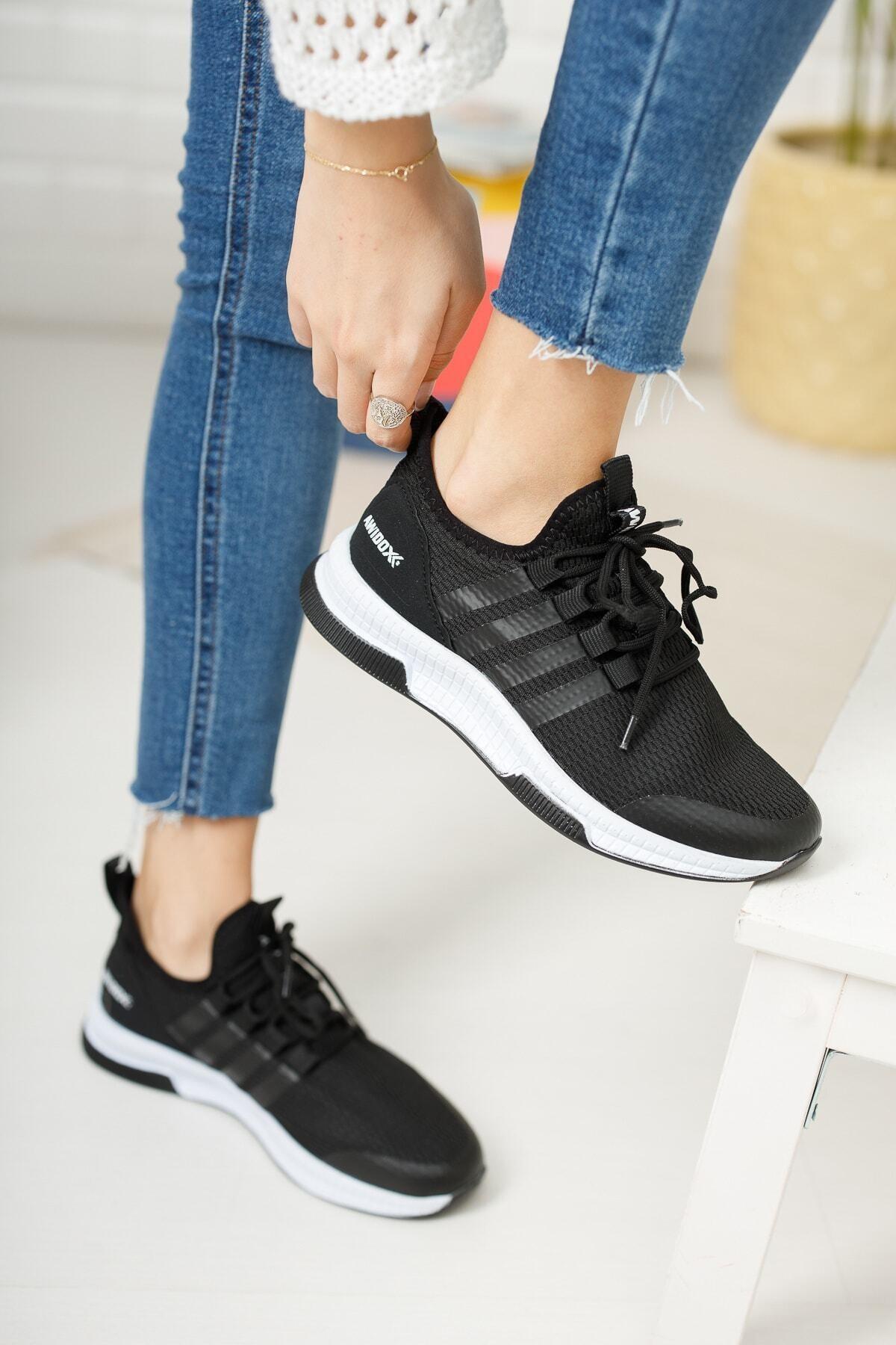 meyra'nın ayakkabıları Kadın Siyah Beyaz Sneaker 2