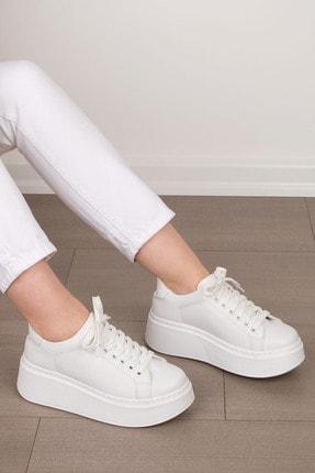 Marjin Kadın Beyaz Kalın Taban Sneaker Ayakkabı Lavler