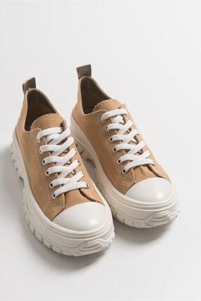 LuviShoes Kadın Tarçın Keten Spor Ayakkabı