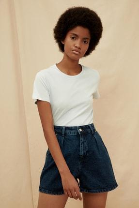 TRENDYOLMİLLA Açık Mavi %100 Organik Pamuk Basic Örme T-Shirt TWOSS20TS0925
