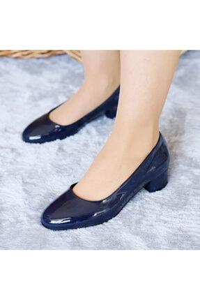 PUNTO Kadın Lacivert Rugan Yumurta Topuklu Ayakkabı
