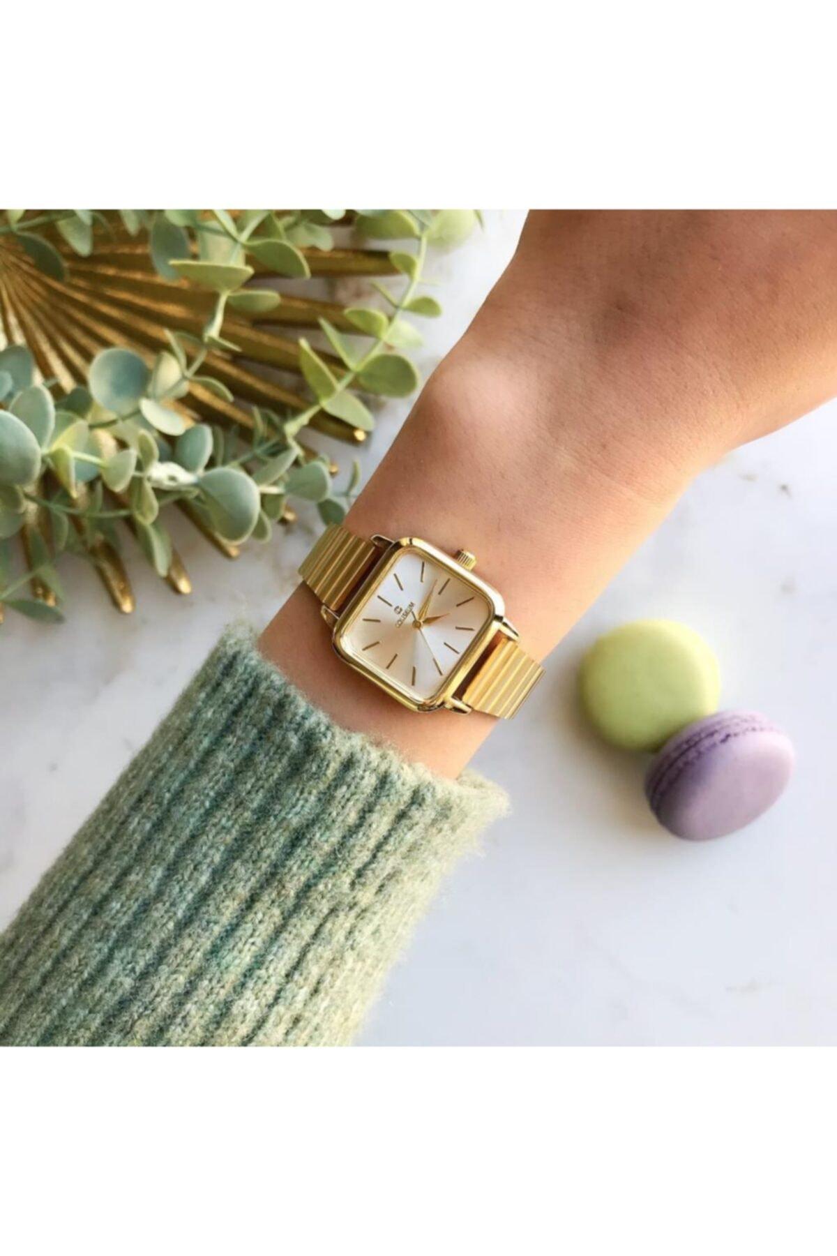 OQQO Minimal Kare Altın Kasa Gümüş Kadran Kadın Kol Saati 1