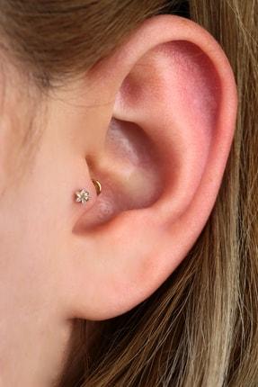 Vilma Aksesuar Cerrahi Çelik Yıldız Taşlı Piercing Tragus - Helix (8mm) Gold Renk