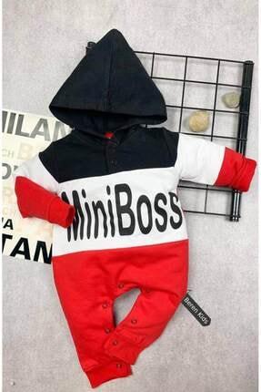 Beren Kids Mini Boss Desenli Kapşonlu Şık Bebek Tulum