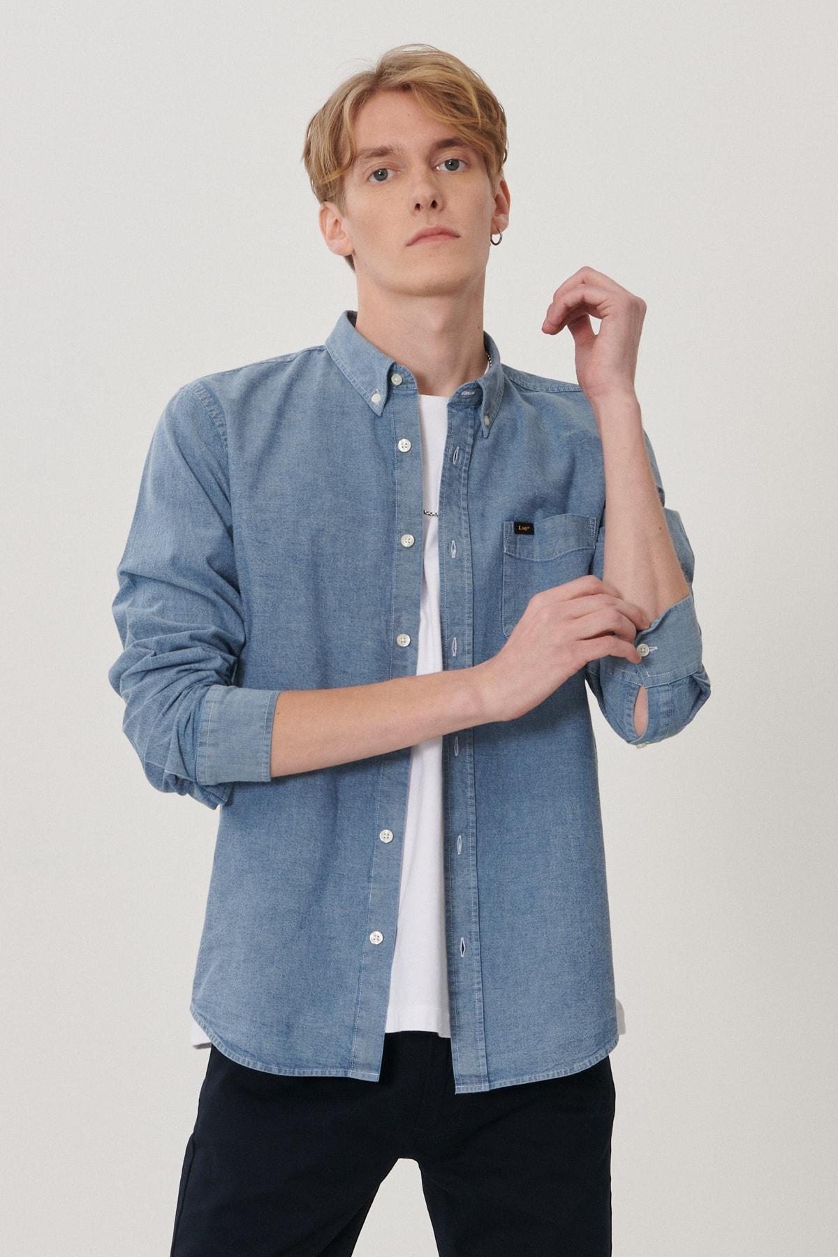 Lee Erkek Mavi Regular Fit Uzun Kol Gömlek