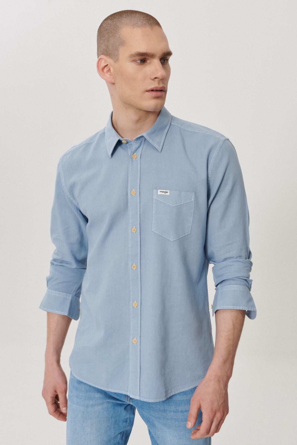 WRANGLER Erkek İndigo Regular Fit Düğmeli Yaka Uzun Kol Gömlek