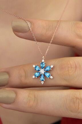 Papatya Silver 925 Ayar Gümüş Mavi Taşlı Kamelya Çiçeği Kadın Kolye