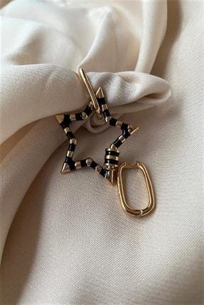 Madame Daisy Bijuteri Ithal Vip Collectıon Siyah Mineli Beş Köşeli Yıldız Küpe