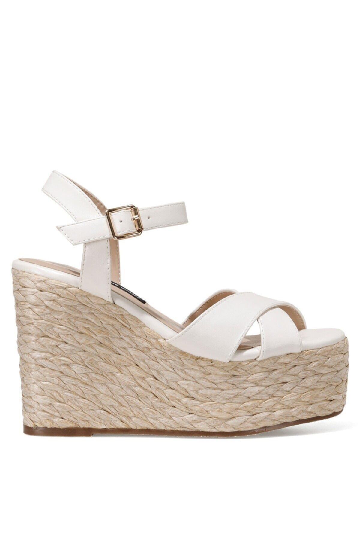 Nine West WIEMA 1FX Beyaz Kadın Dolgu Topuklu Sandalet 101030115 1