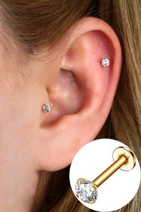 Vilma Aksesuar Cerrahi Çelik Taşlı Piercing Helix - Tragus 8mm Gold Renk
