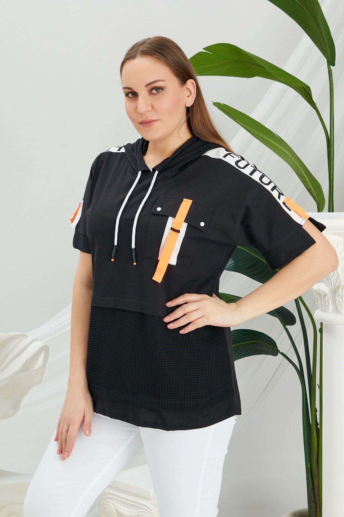 RMG Kadın Siyah Ön File Detaylı Şeritli Kapüşonlu Tişört 1