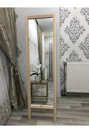 EPSO Ayaklı Boy Aynası Masif Ahşap 41x145cm (BOYASIZ TAMAMEN DOĞAL)