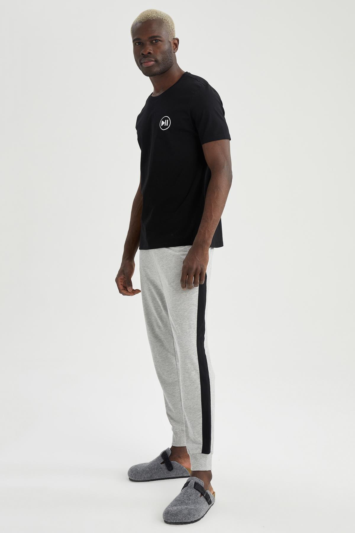 DeFacto Erkek Slim Fit Pamuklu Pijama Takımı T9373AZ21SP