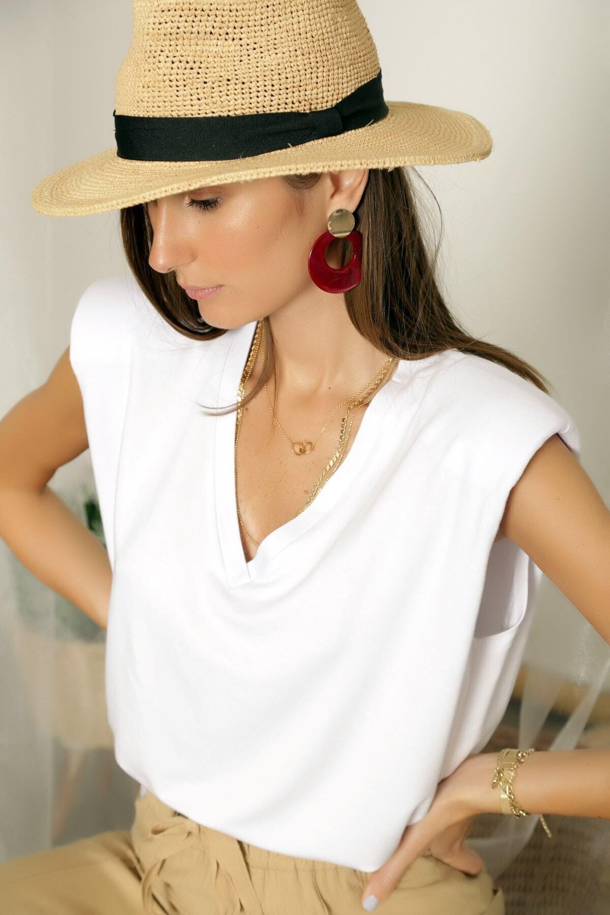 ARYA FASHION Kadın Beyaz Özel Tasarım V Yaka Göğüs Dekolteli Seksi Kolsuz Bol Kesim Tarz Vatkalı Bluz 2