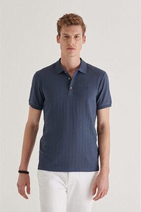 Avva Erkek Indigo Polo Yaka Jakarlı T-shirt A11y1101