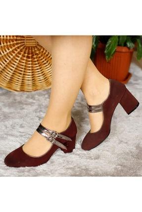 PUNTO Kadın Bordo Bilekten Bağlamalı Topuklu Ayakkabı