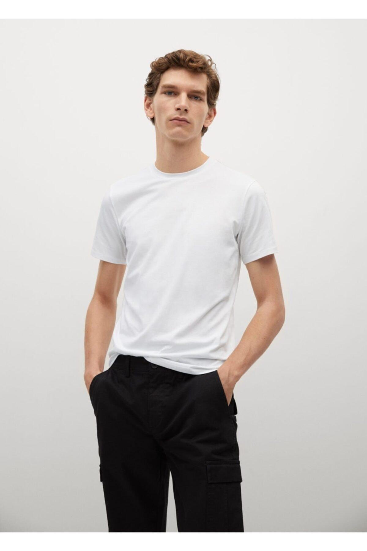 MANGO Man Erkek Beyaz Pamuklu Streç Tişört 87092508 1