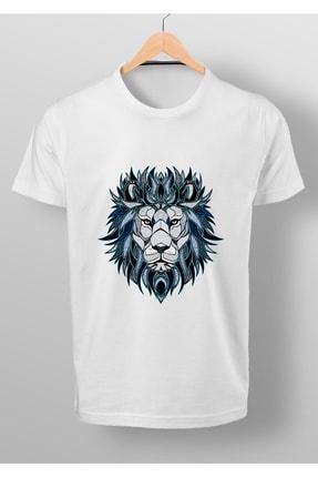 By Okat Mavi Aslan Baskılı T-shirt