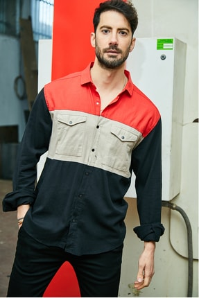 Sateen Men Erkek Kırmızı-Siyah Oversize Gömlek Ceket