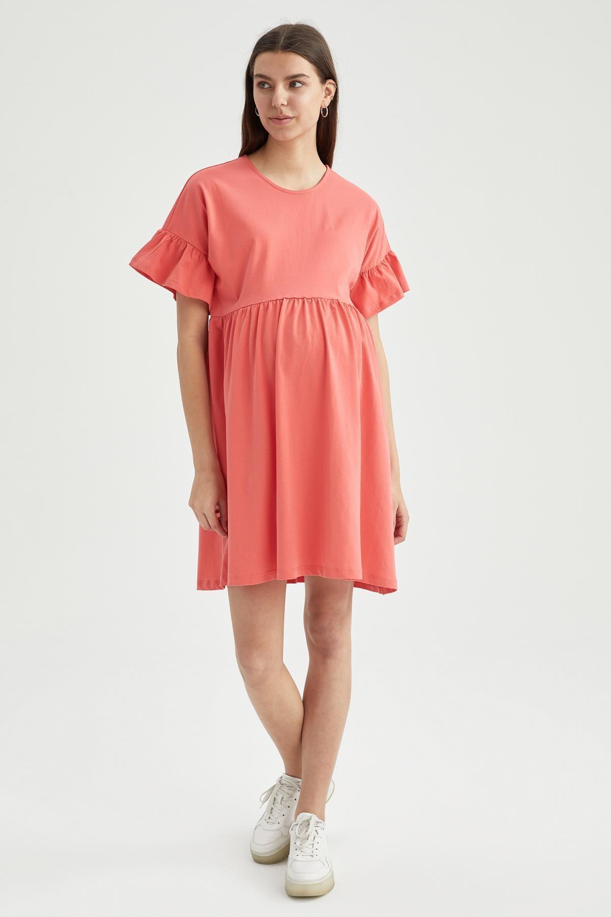 DeFacto Oversize Fit Volan Detaylı Kısa Kollu Hamile Elbisesi