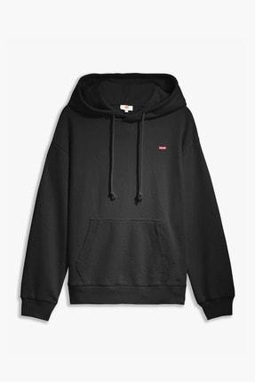 Levi's Kadın Siyah Standart Hoodie Sweatshirt 24693-0002