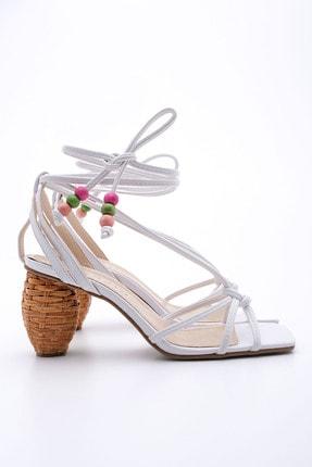 Marjin Kadın Beyaz İpli Topuklu Sandalet Cukve
