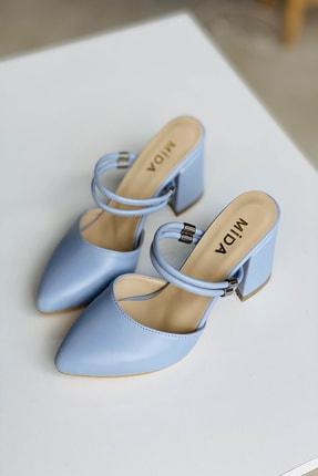 Mida Shoes Kadın Bebe Mavi Deri Çift Bantlı Topuklu Ayakkabı