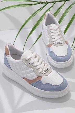 Bambi Mavi Beyaz Süet Kadın Sneaker K01578090065
