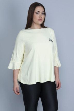Şans Kadın Sarı Kol Detaylı Arka Fermuarlı Bluz 65N23350