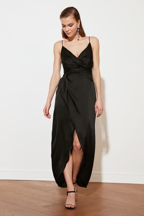 TRENDYOLMİLLA Siyah Kruvaze Yaka Saten Abiye & Mezuniyet Elbisesi TPRSS21AE0050