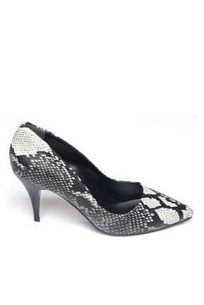 Shoes Time Siyah Beyaz Yılan Kadın Topuklu Ayakkabı 18Y 11905