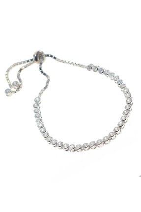 Söğütlü Silver Kadın Gümüş Rodyumlu Zirkon Taşlı Su Yolu Asansörlü Bileklik SGTL8783