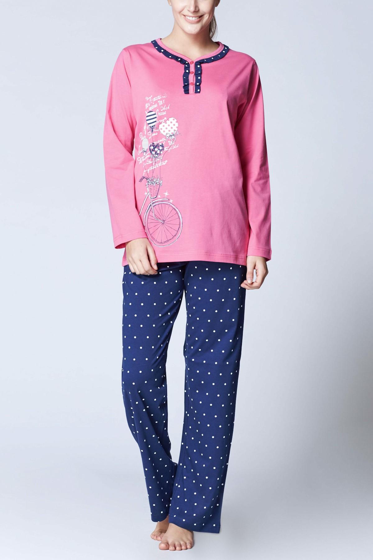 ROLY POLY Kadın Fuşya Süprem Uzun Kol Pijama Takımı 7852 1