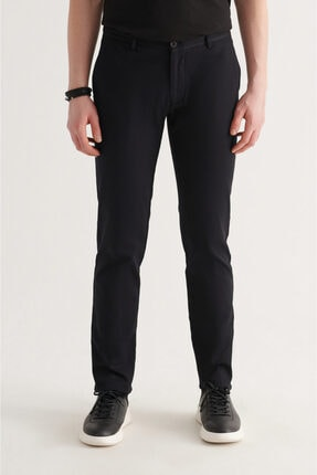 Avva Erkek Siyah Yandan Cepli Armürlü Slim Fit Pantolon A11y3035